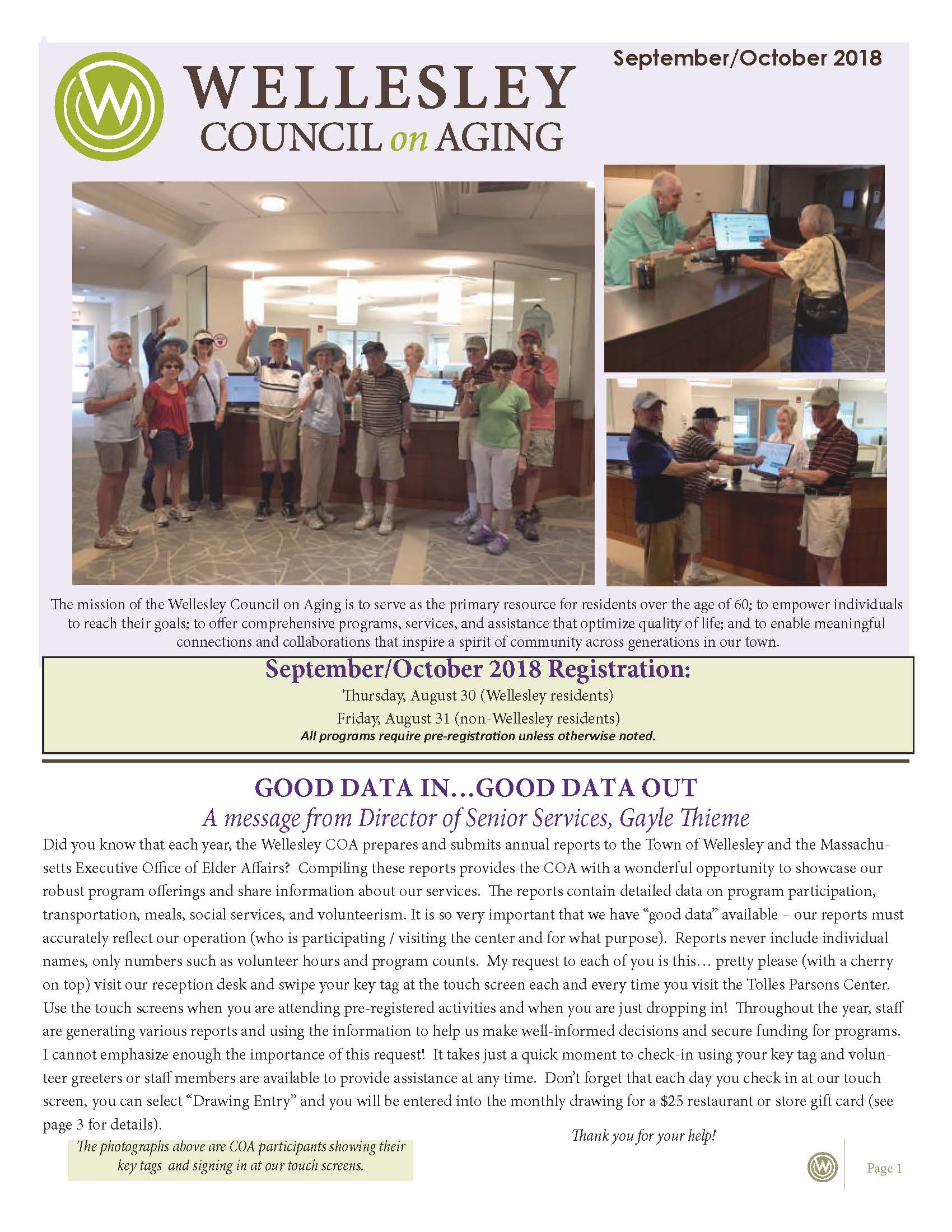 September October 2018 Newsletter Front Cover