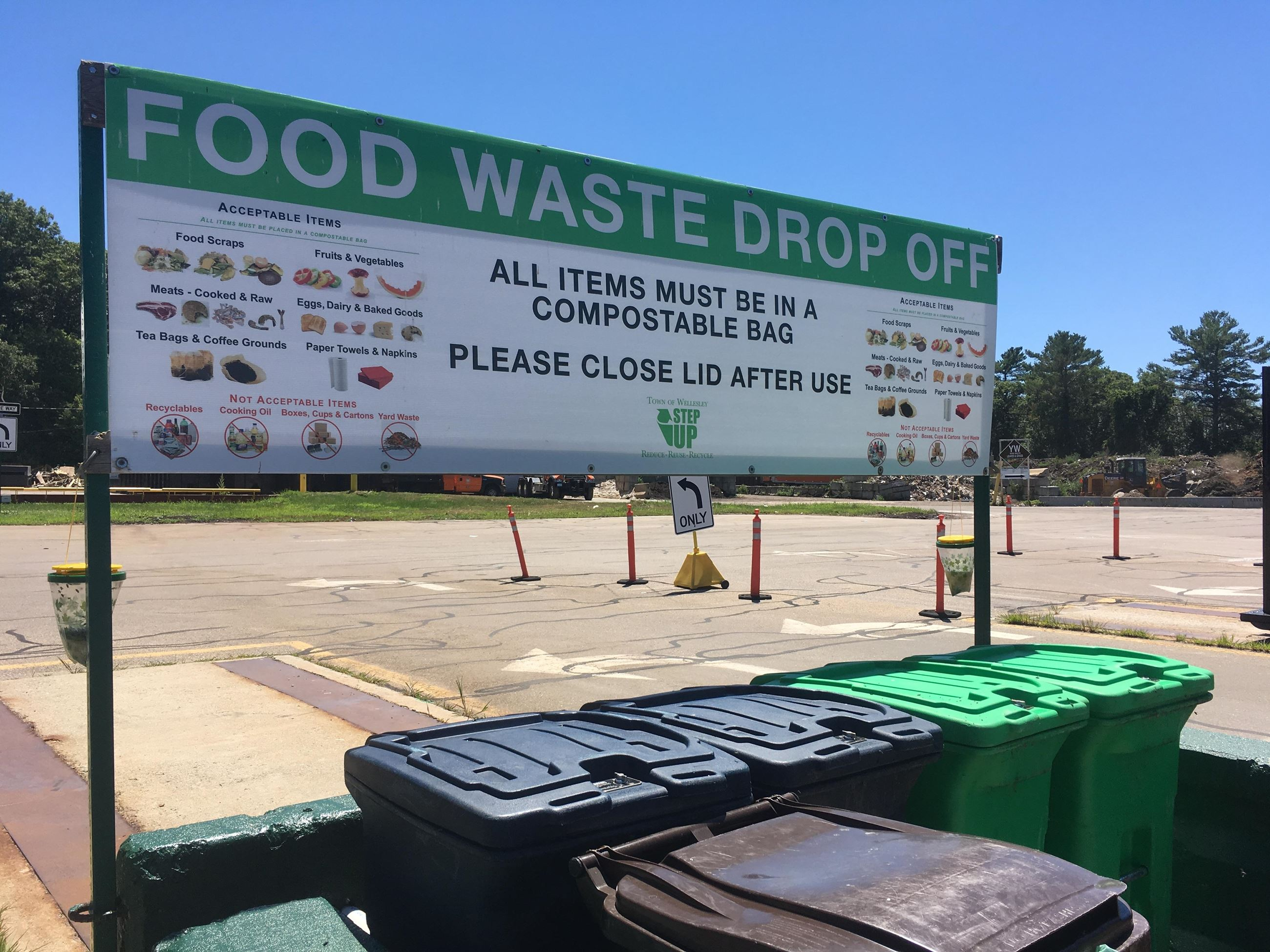 RDF food waste drop off with sign